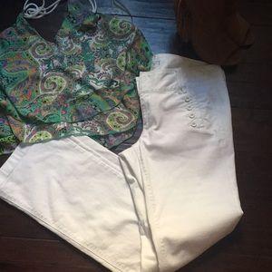 Ann Taylor Loft denim white jeans size 10 Euc!